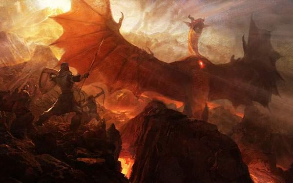 赤い竜と戦う騎士達を描いたイラスト壁紙