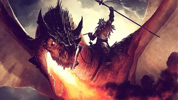 真っ赤な炎を吐く竜とドラゴン使い