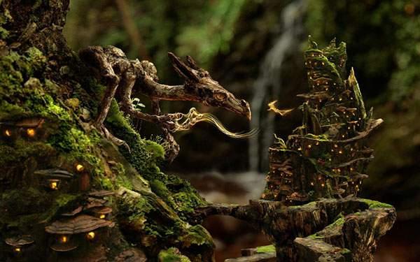 森のドラゴンをリアルに描いた美しい壁紙画像