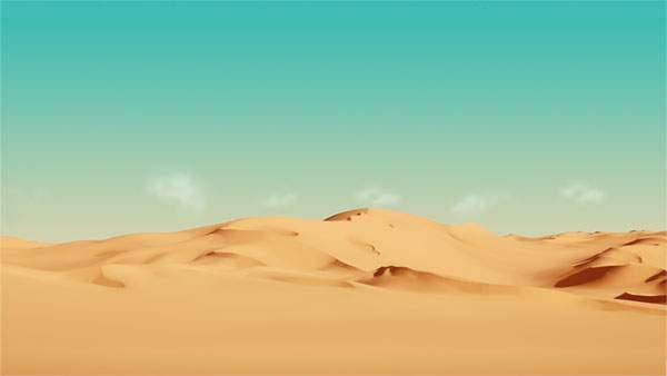 エメラルドブルーの空と砂漠のコントラストが美しい写真壁紙