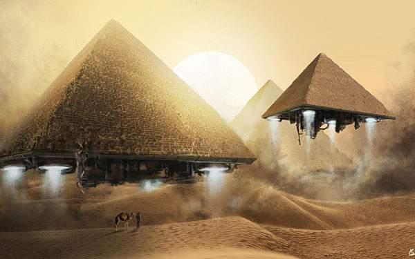 ピラミッドが宇宙船になっているグラフィックアート壁紙