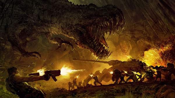 恐竜と軍隊を描いたイラスト壁紙