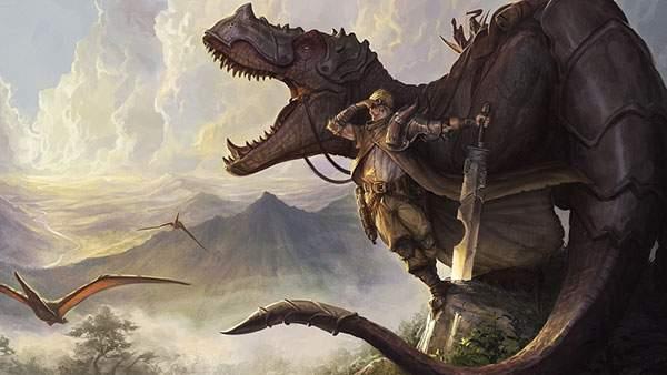 鎧を身につけた恐竜と大きな剣をもった戦士のイラスト