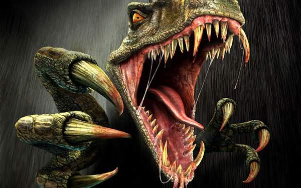 大きな牙を爪をむき出しにした迫力の恐竜のイラスト