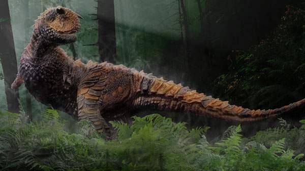 森の中の鎧竜を描いたリアルなイラスト