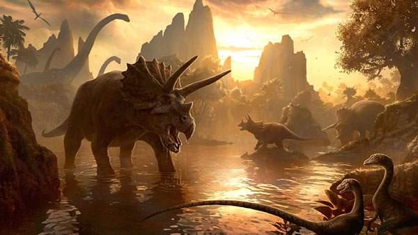 夕日の中の恐竜たち(トリケラトプスなど)