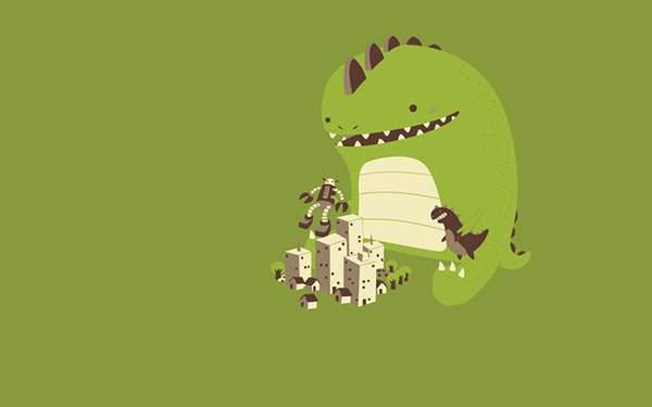おもちゃで遊ぶかわいい恐竜のイラスト壁紙