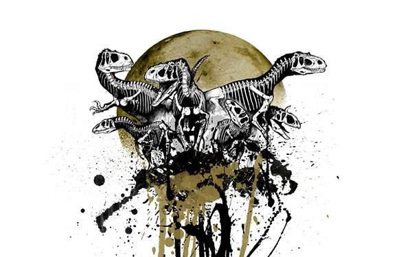恐竜の骨をデザインしたクールなグラフィックデザイン