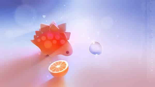 オレンジと鎧竜のファンタジーなイラスト壁紙