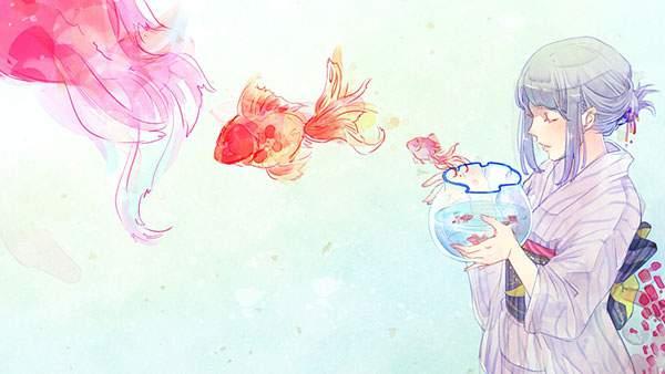 浴衣を着た女性の持った金魚鉢から飛び出す金魚のイラスト