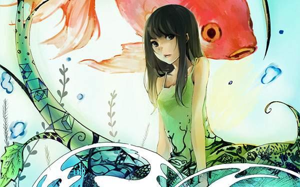 ロングヘアーの女の子と金魚のイラスト壁紙
