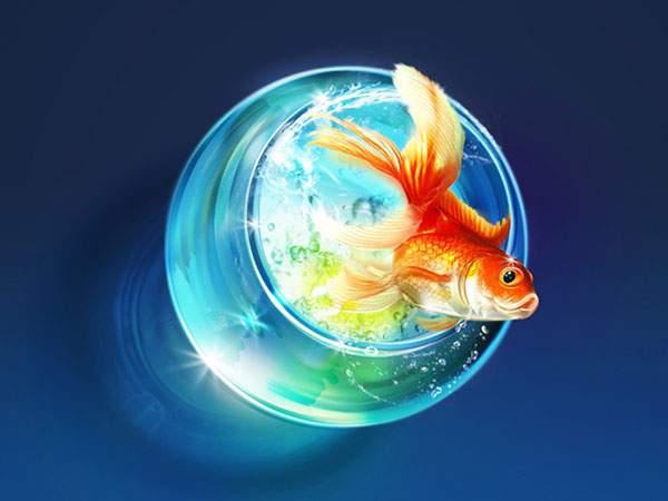 金魚鉢と金魚を描いた透明感たっぷりなイラスト壁紙