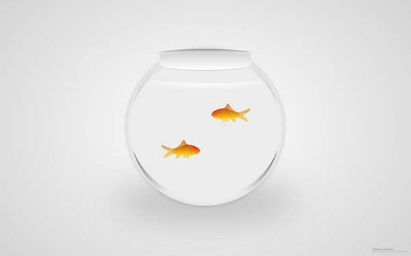 透明な金魚鉢と金魚のシンプルでリアルなイラスト画像