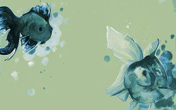 粗塗りタッチの二匹の金魚のイラスト壁紙