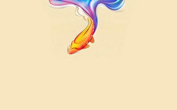虹色の尾をした綺麗な金魚のイラスト壁紙