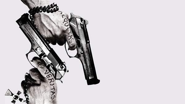 銃を突きつけ合う男たちの手元の壁紙画像