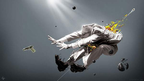 銃弾を受けて吹き飛ぶ男のグラフィックアート画像