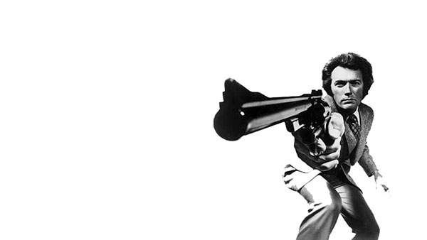 銃を構えるクリントイーストウッドのモノクロ画像