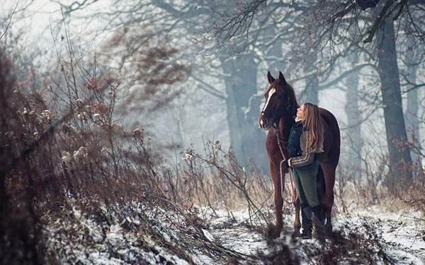 馬を連れて雪の森を歩く女性の壁紙画像