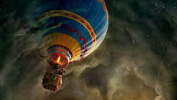 荒れた雲の中を気球で進むファンタジーなイラスト壁紙