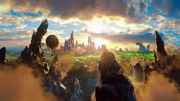 切り立った岩山と朝日と熱気球の美しいイラスト壁紙