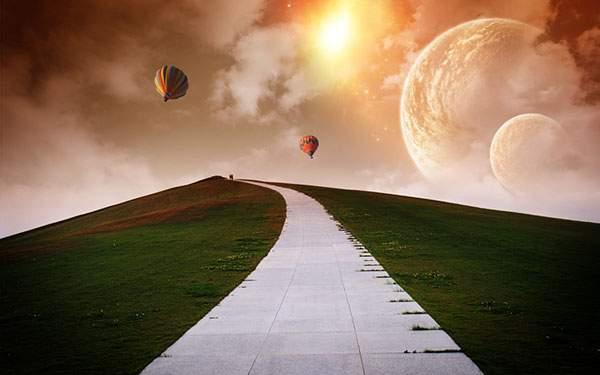 丘の上に続く道と熱気球の美しい壁紙画像
