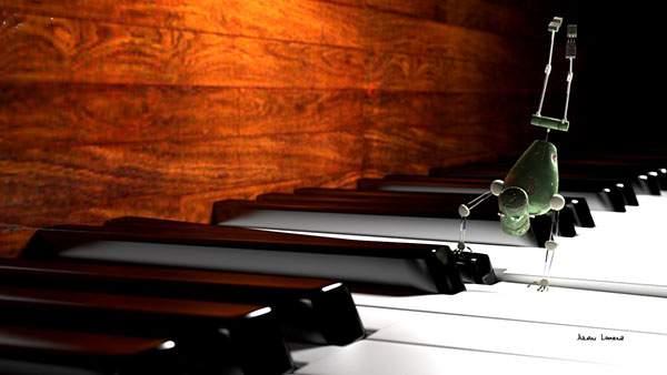 ピアノの鍵盤を逆立ちで押すロボットの壁紙画像