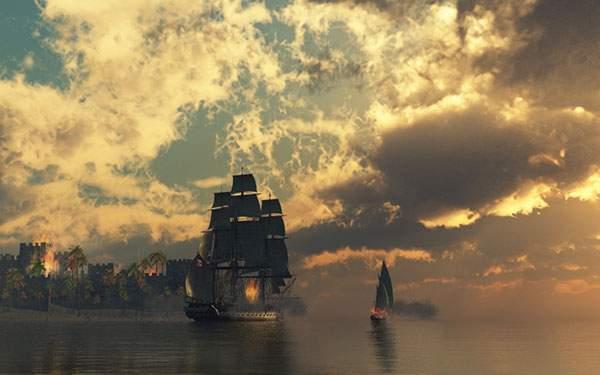 街を攻める海賊船の壁紙画像