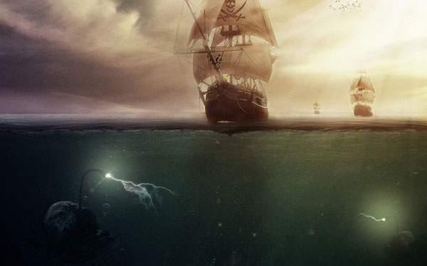 ドクロマークの海賊船とチョウチンアンコウのイラスト壁紙