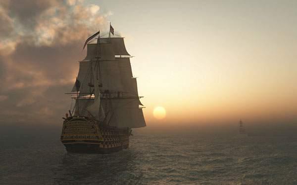 夕日と海賊船のかっこいい壁紙画像