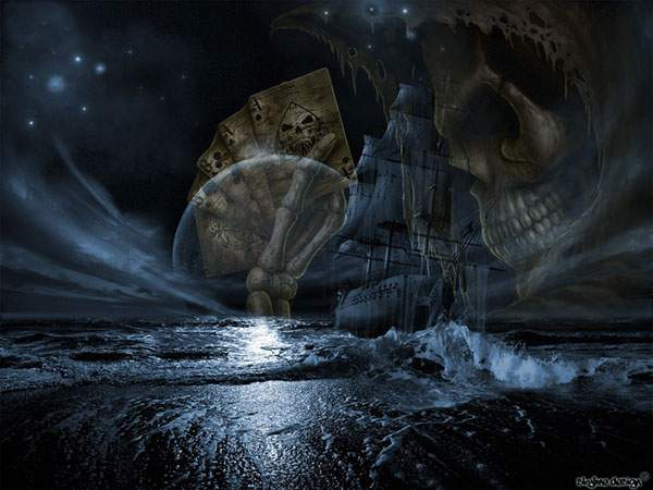 幽霊船と骸骨を描いたホラー系イラスト画像