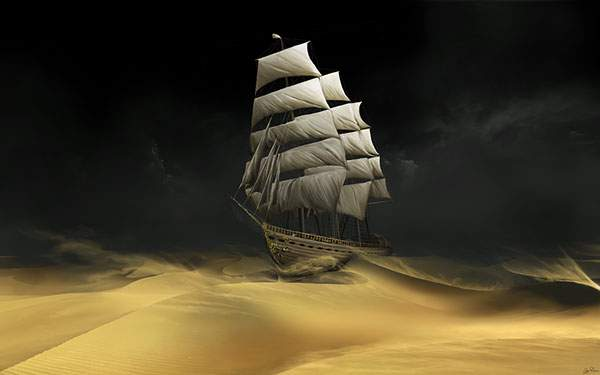 砂漠に現れた幽霊船のイラスト壁紙