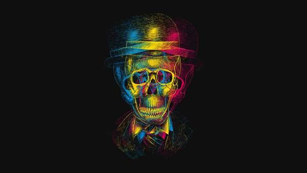 三色のラインで描いた帽子を被ったガイコツのおしゃれなデザインの壁紙画像