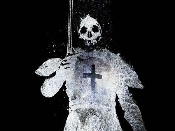 剣を持った髑髏の兵士のおしゃれなイラスト壁紙画像