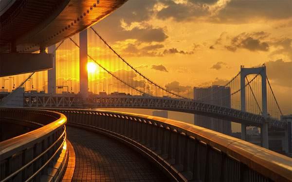 レインボーブリッジを染める夕日の写真壁紙