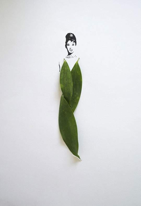 葉っぱや花弁で出来たドレスのイラストレーション - 01