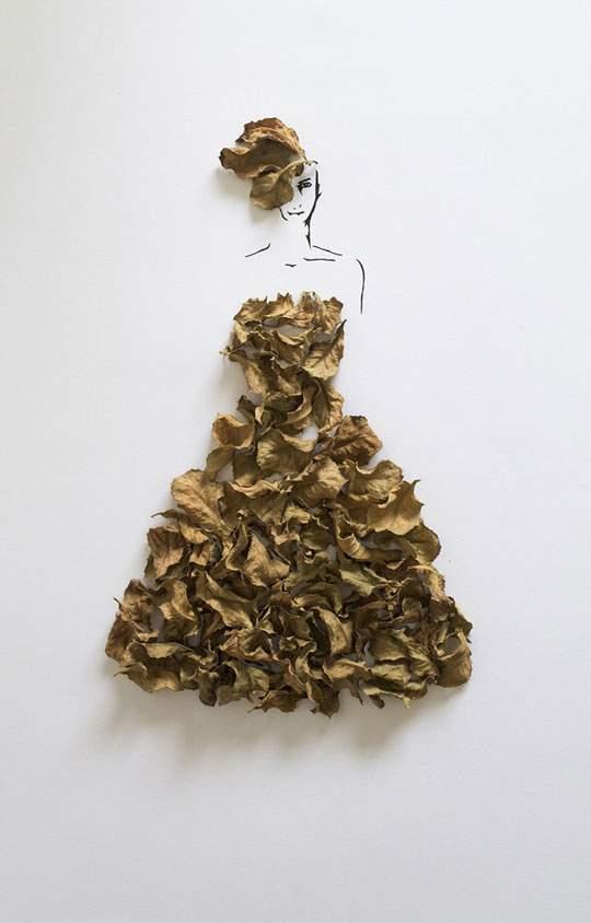 葉っぱや花弁で出来たドレスのイラストレーション - 02