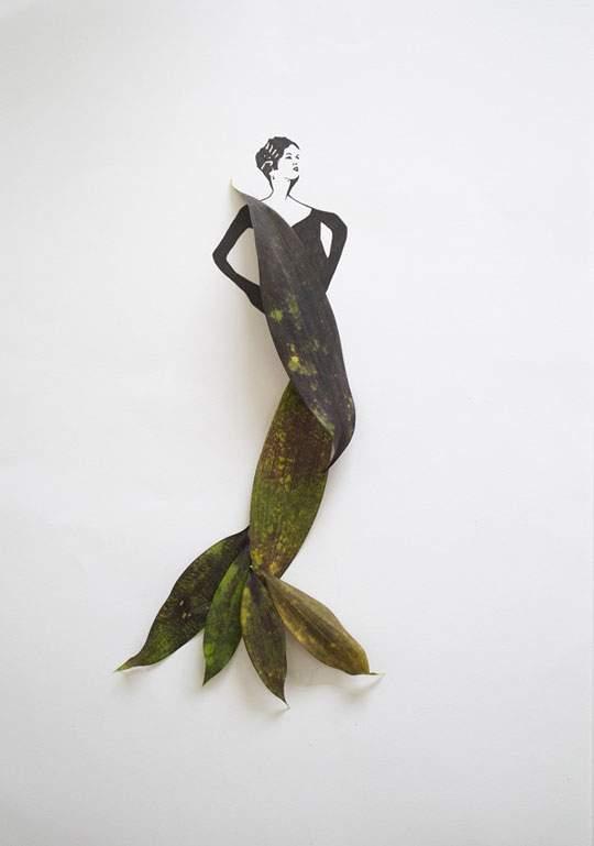 葉っぱや花弁で出来たドレスのイラストレーション - 03