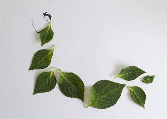 葉っぱや花弁で出来たドレスのイラストレーション - 04