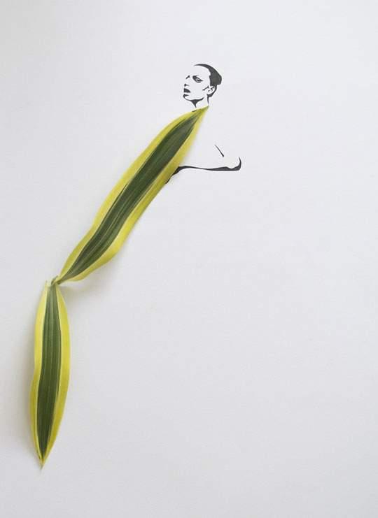葉っぱや花弁で出来たドレスのイラストレーション - 05
