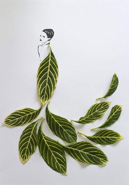 葉っぱや花弁で出来たドレスのイラストレーション - 06