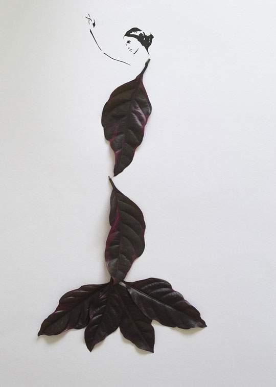 葉っぱや花弁で出来たドレスのイラストレーション - 08