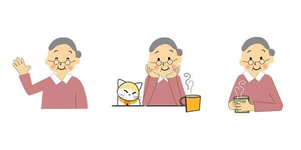 お婆さん(老人・高齢者)のイラスト(カット・挿絵)