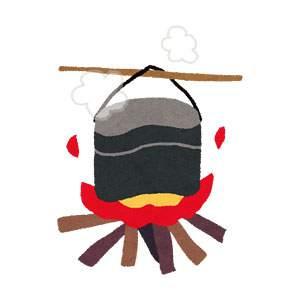キャンプのイラスト「飯盒炊爨」