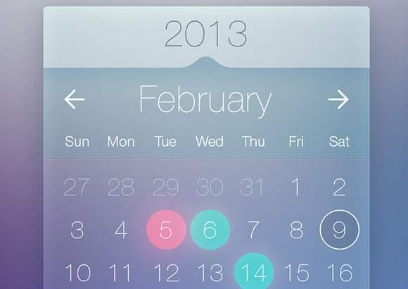 Transparent calendar widget PSD