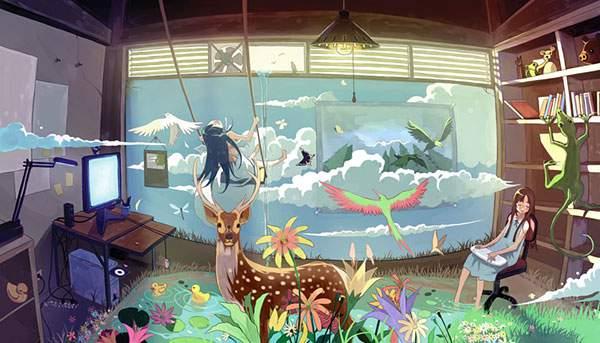 部屋の中に自然が広がるファンタジーな世界のイラスト