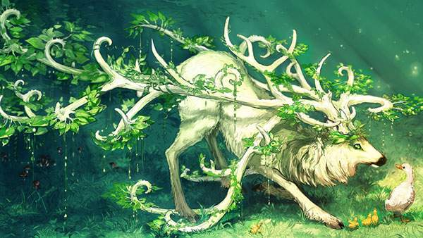 葉っぱの生えた大きな角を持つ鹿とアヒルとひよこの綺麗なイラスト壁紙