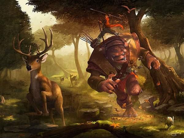 トロール使いから逃げる森の鹿を描いたファンタジーなイラスト