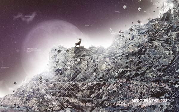 崖の上の鹿と夜空に浮かんだ大きな満月のイラスト壁紙画像