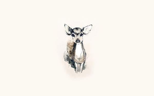 つぶらな瞳がかわいい小鹿のシンプルなイラスト壁紙
